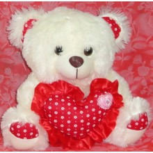 Cream Bear with Red Heart