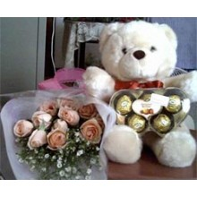Bear w/ 1 dozen rose and chocolate