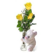 3 pcs yellow roses in a vase w/ bear