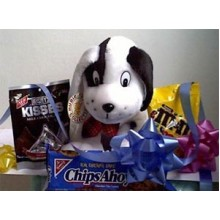 Puppy with Kisses & M&M chocolate and cookies