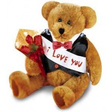 Customizable message bear with 3 pcs fresh red rose