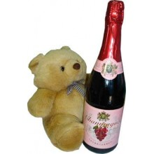 1 bottle of champagne  with small size cute teddy bear.