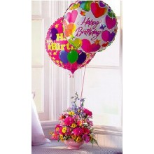 Mylar balloons with assorted daisies