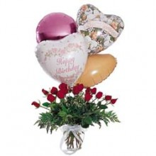 1 dozen red roses with 4 mylar balloons
