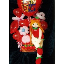 Mylar balloons with girl arrangement