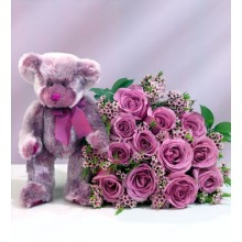 Roses with purple teddy bear