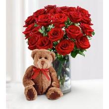 Roses and teddy bear