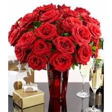 2 Dozen Red Roses in a Vase with box of chocolate.