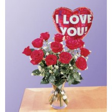 1 dozen Red Roses in a Vase with I Love You Balloon