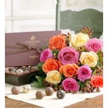 1 dozen Multicolored Roses Bouquet with chocolates
