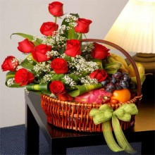 1 Dozen Red Roses w/ Mixed Fruits in a Basket.