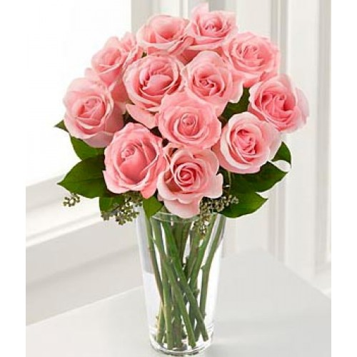 12 long stem pink rose vase for 12 dozen roses at your door
