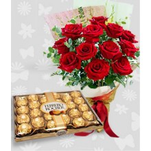 12 Roses with 24pcs Box of Ferrero