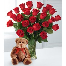 24  Roses Vase with Bear