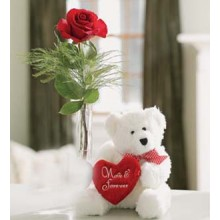 A Single Rose With Bear