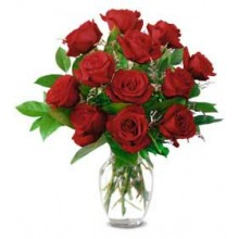 1 Dozen Roses in a Glass Vase