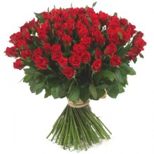 101 pcs Long Stemmed Fresh Cut Deep Red Roses