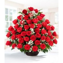 4 Dozen  Red Roses In Basket