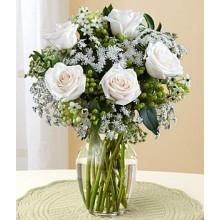 5 White Roses in Vase