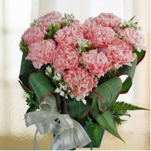 10 Pink Carnations Heart-Shape Arrangement