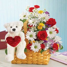 Mixed Flowers and  Bear with Heart
