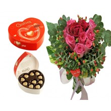 12 Roses with Belgian Chocolate