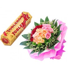 36 Mixed Roses WIth Toblerone