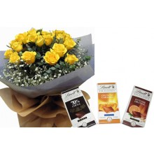 18 Yellows Roses With Lindt Excellence Chocolate