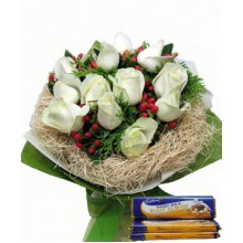 12 White Roses with  Cadburry Chocolate