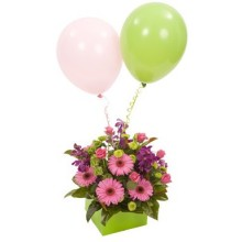 Mixed Boxed Arrangement with Balloons