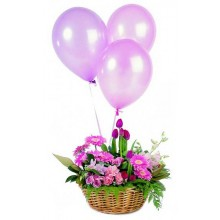 Celebration Flower Arrangement and Three Balloons