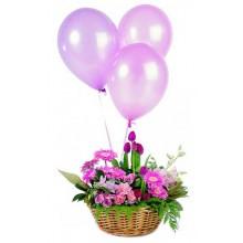 Celebration Flower Arrangement and Three Balloons