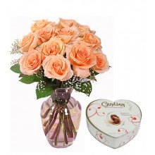 12 Peach Roses with  Belgian Chocolates