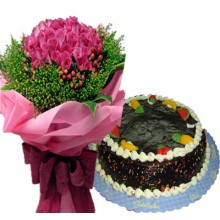 48 Pink Roses with Fruity Choco Cake