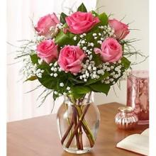 Half Dozen Vase Roses