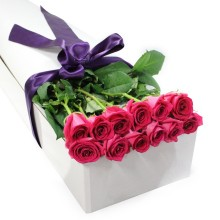 Hot Pink Rose Gift Box