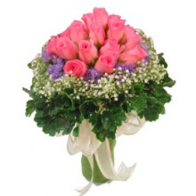 12 Peach Roses  Handbouquet