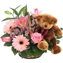 Pink Flowers with Teddy Bear