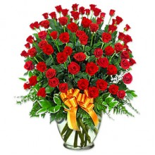 5 Dozen Red Roses in Vase