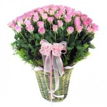100 Pink Roses basket