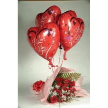Roses with I love you Balloons