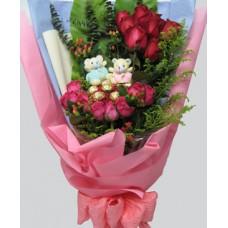 Bear, Chocolates & Flowers
