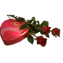 3 Red Roses with Lindt: Lindor, Swiss Chocolate