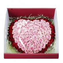 100 Roses Boxed in Double Heart Bouquet