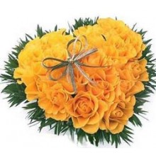 Yellow Roses Heart Shape Arrangement