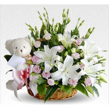 White Flowers with Teddy Bear
